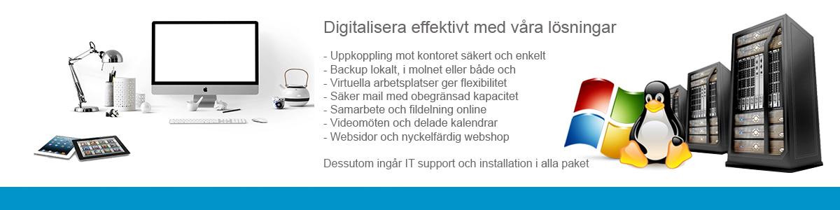 Digitalisera effektivt med hjälp av oss. Vi har lösningen för både små och stora företag.